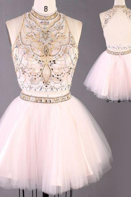 Beaded Prom Dress,Short Prom Dress,A Line Silver Beaded Crystals Keyhole Back Two Piece Real Sample Short Evening Party Gowns Girls Prom Dresses